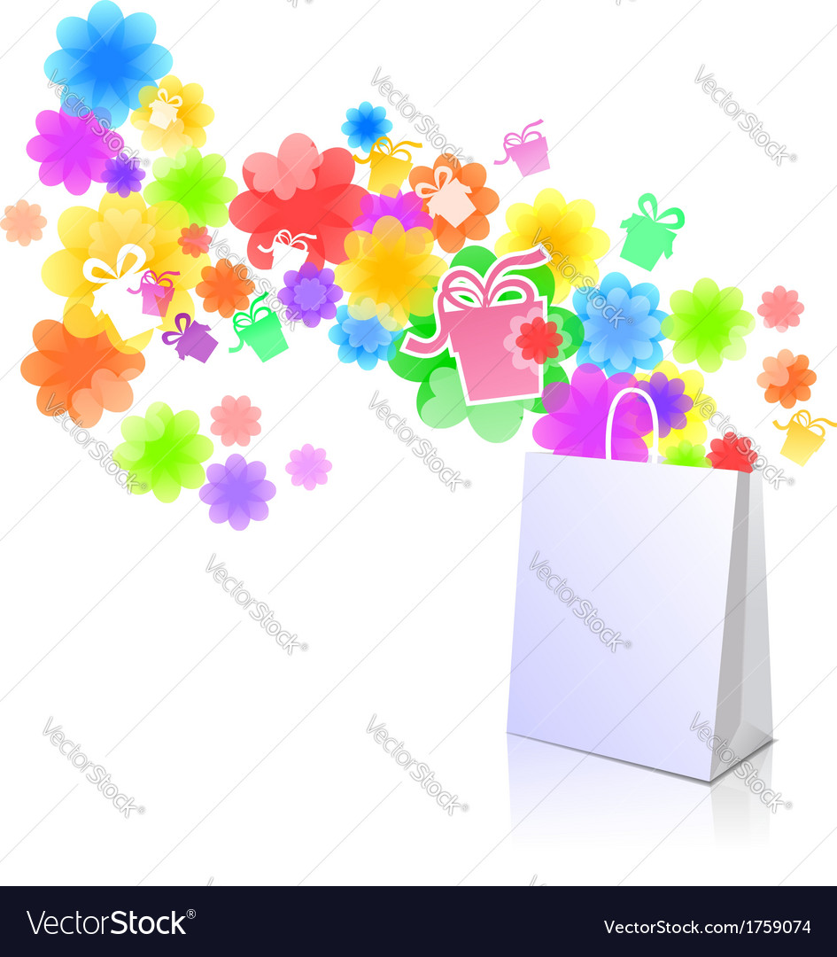 Package with a gift box and flowers vector | Price: 1 Credit (USD $1)