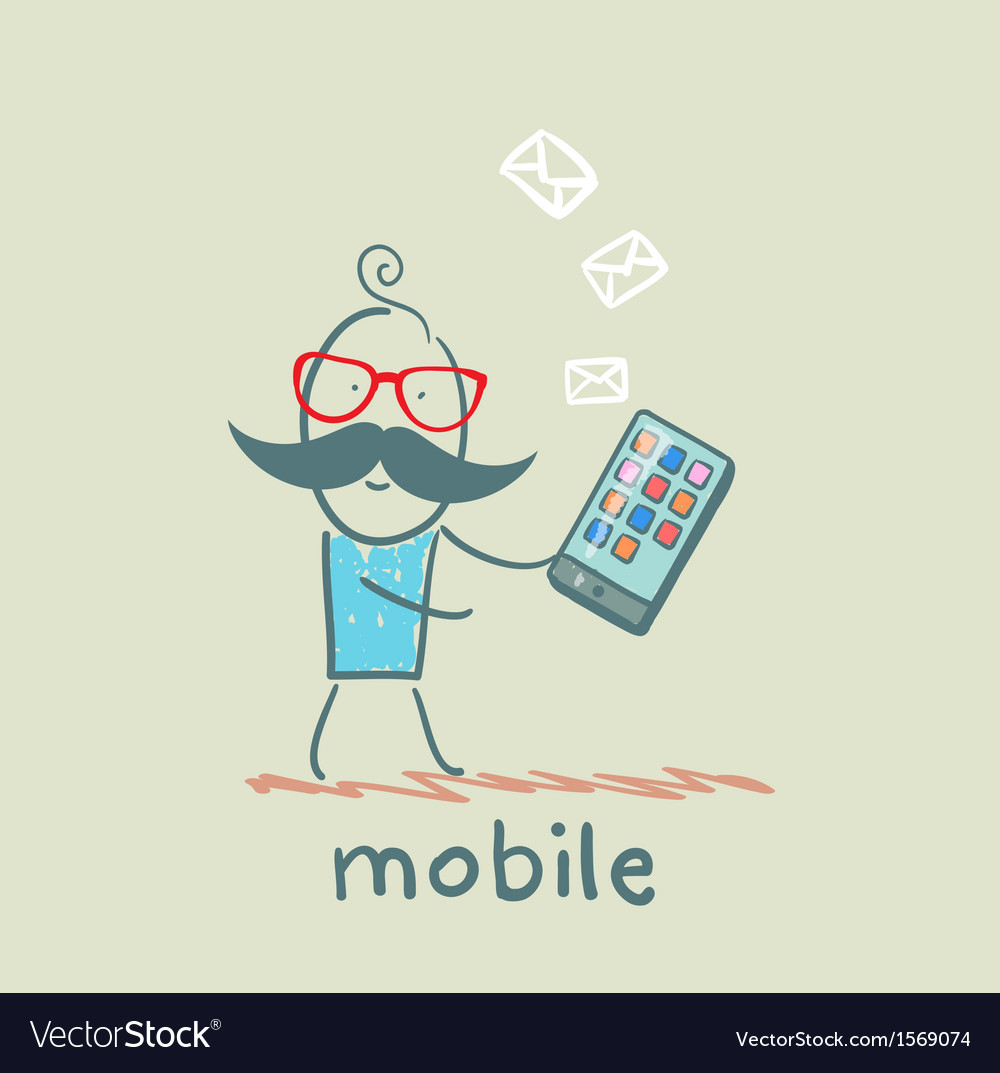 Person receives a message from a mobile vector | Price: 1 Credit (USD $1)