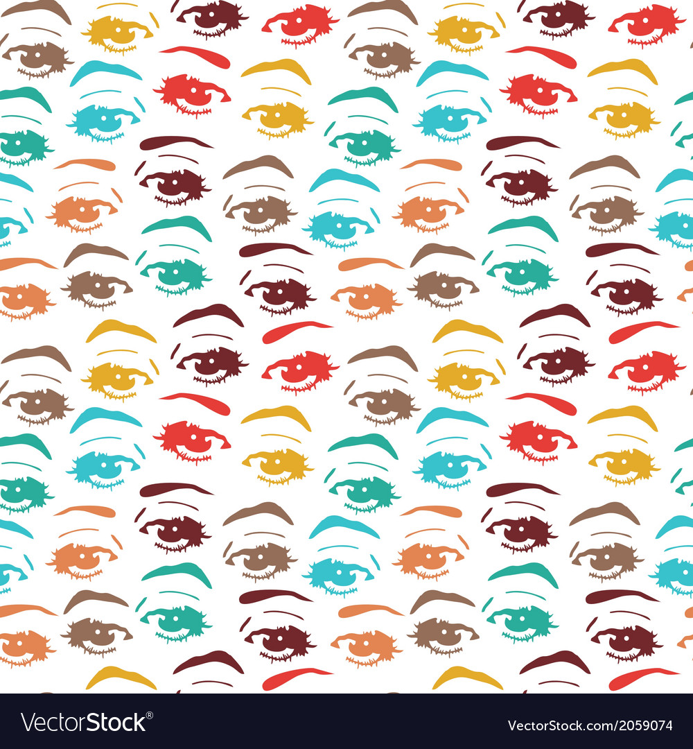 Seamless background with eyes endless eye pattern vector | Price: 1 Credit (USD $1)