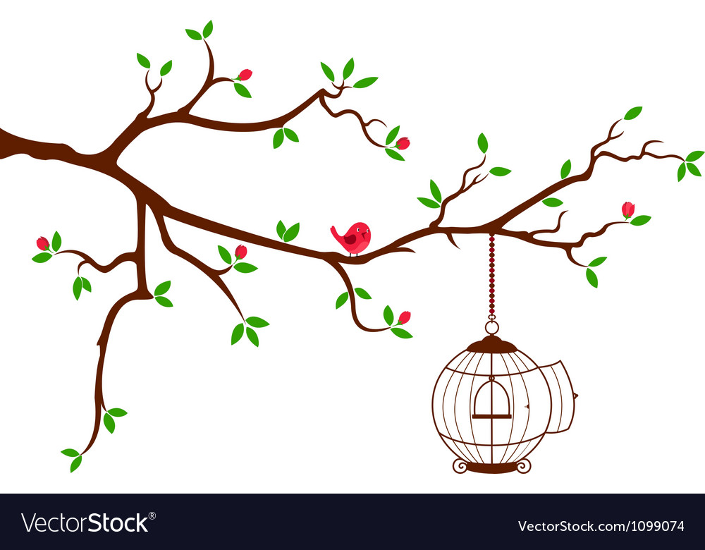 Tree branch with rounded bird cage vector | Price: 1 Credit (USD $1)