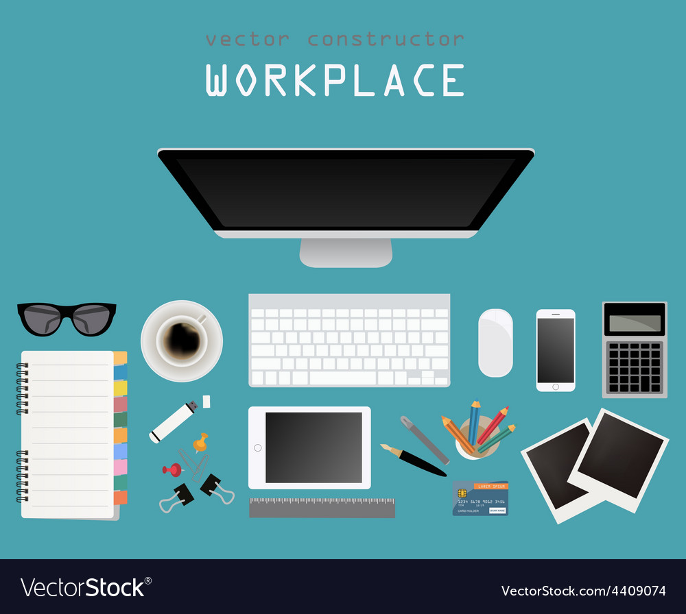 Working place in flat design constructor of your vector | Price: 1 Credit (USD $1)