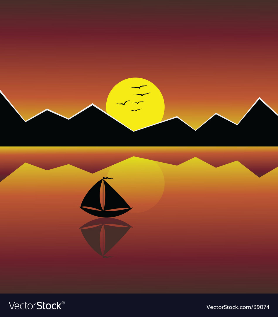 Yacht in the sea vector | Price: 1 Credit (USD $1)
