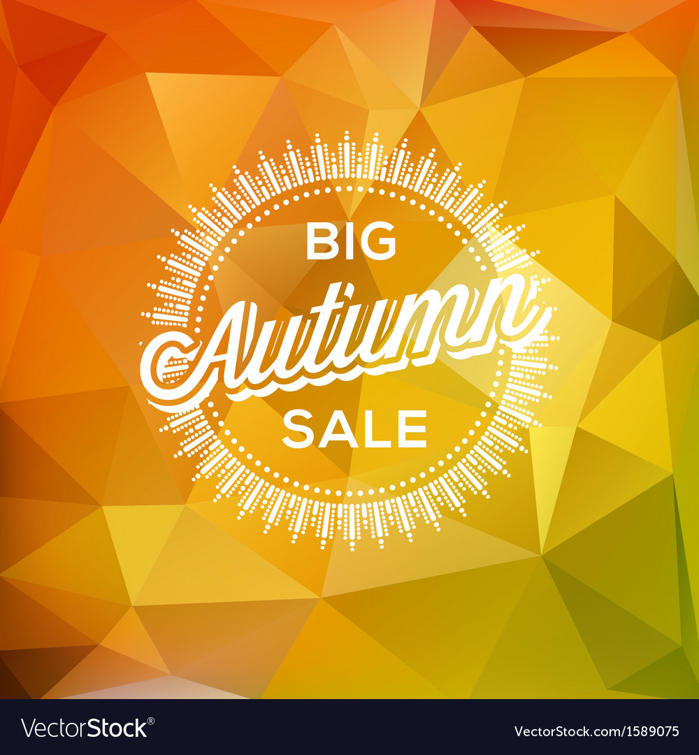 Autumn sale poster polygonal background vector | Price: 1 Credit (USD $1)