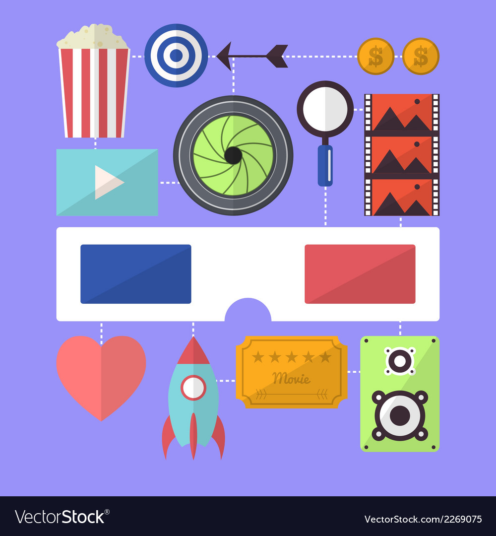 Cinema movie entertainment flat design object vector | Price: 1 Credit (USD $1)