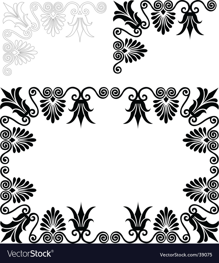 Floral frame and border patterns vector | Price: 1 Credit (USD $1)