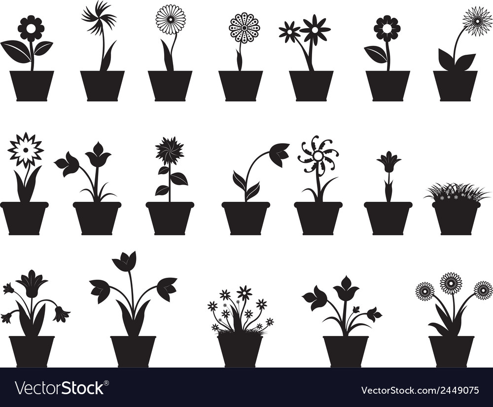 Flowers in pot vector | Price: 1 Credit (USD $1)