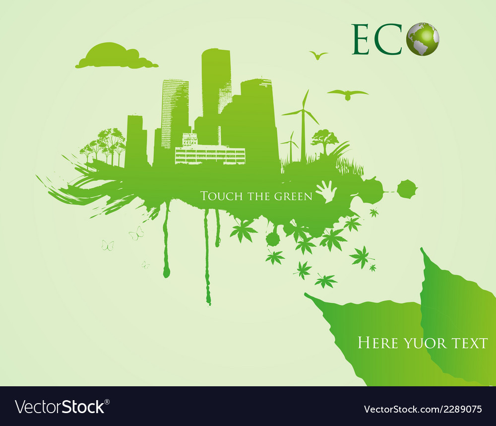 Green eco town - abstract ecology town vector | Price: 1 Credit (USD $1)