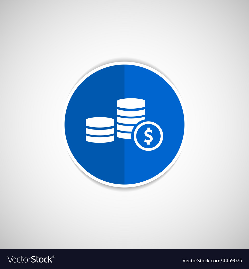 Icon coin white business wealth finance vector | Price: 1 Credit (USD $1)