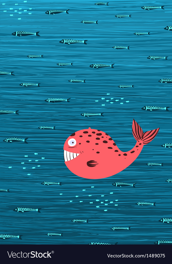 Pink whale and fish underwater cartoon background vector | Price: 1 Credit (USD $1)