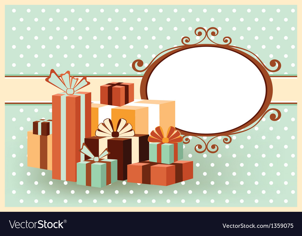 Retro color card with gifts vector | Price: 1 Credit (USD $1)