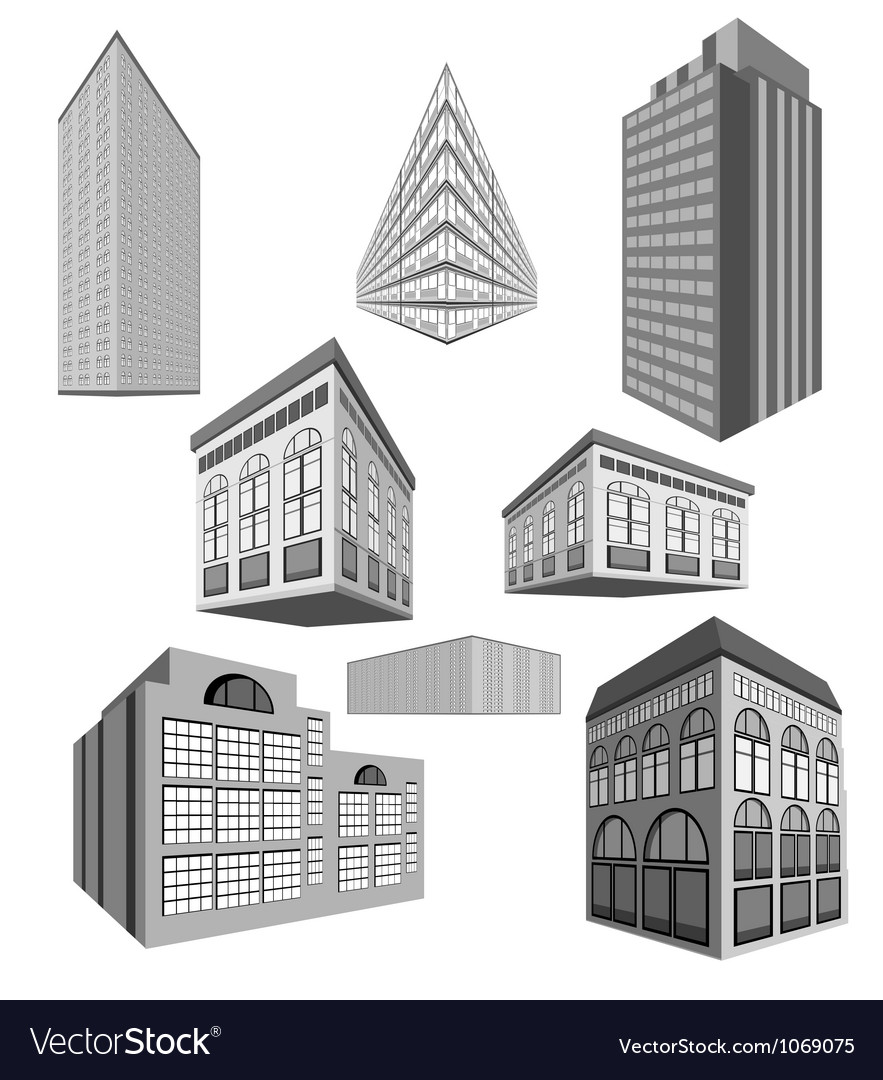 Set of buildings vector | Price: 1 Credit (USD $1)
