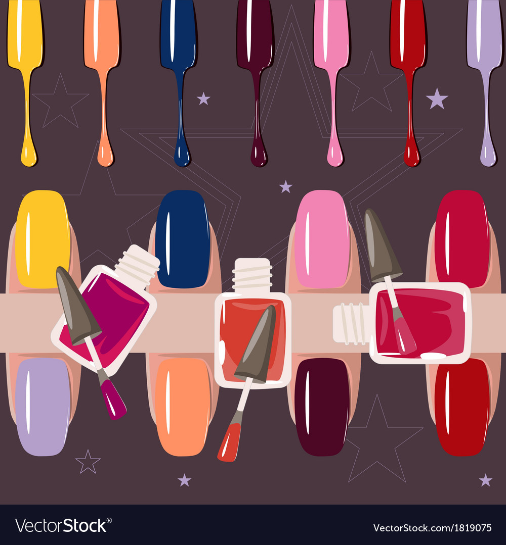 Set of multicolored nail polish brushes vector   Price: 1 Credit (USD $1)