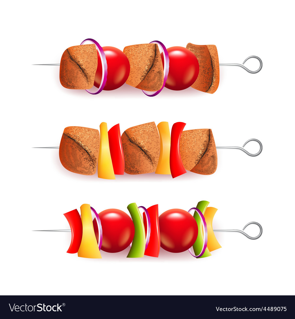 Skewers of different ingredients isolated vector | Price: 3 Credit (USD $3)