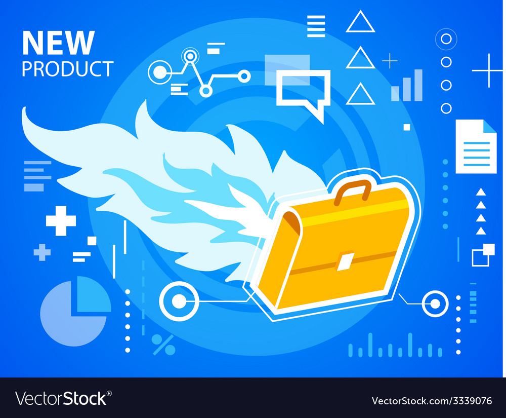 Bright fire and work suitcase on blue backgr vector | Price: 3 Credit (USD $3)