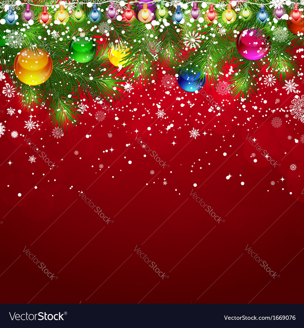 Christmas background with snow-covered branches of vector | Price: 3 Credit (USD $3)