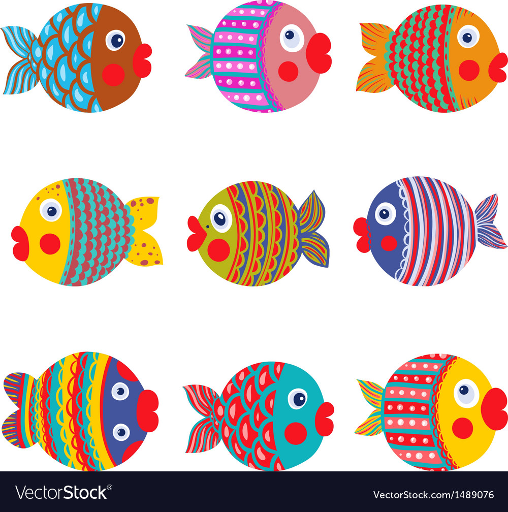 Fish collection colorful graphic cartoon vector | Price: 3 Credit (USD $3)