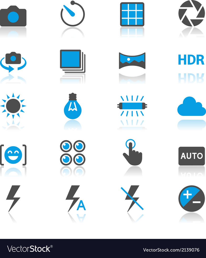 Photography flat with reflection icons vector   Price: 1 Credit (USD $1)