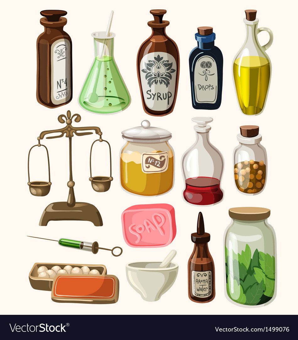 Set of vintage apothecary and medical supplies vector | Price: 3 Credit (USD $3)
