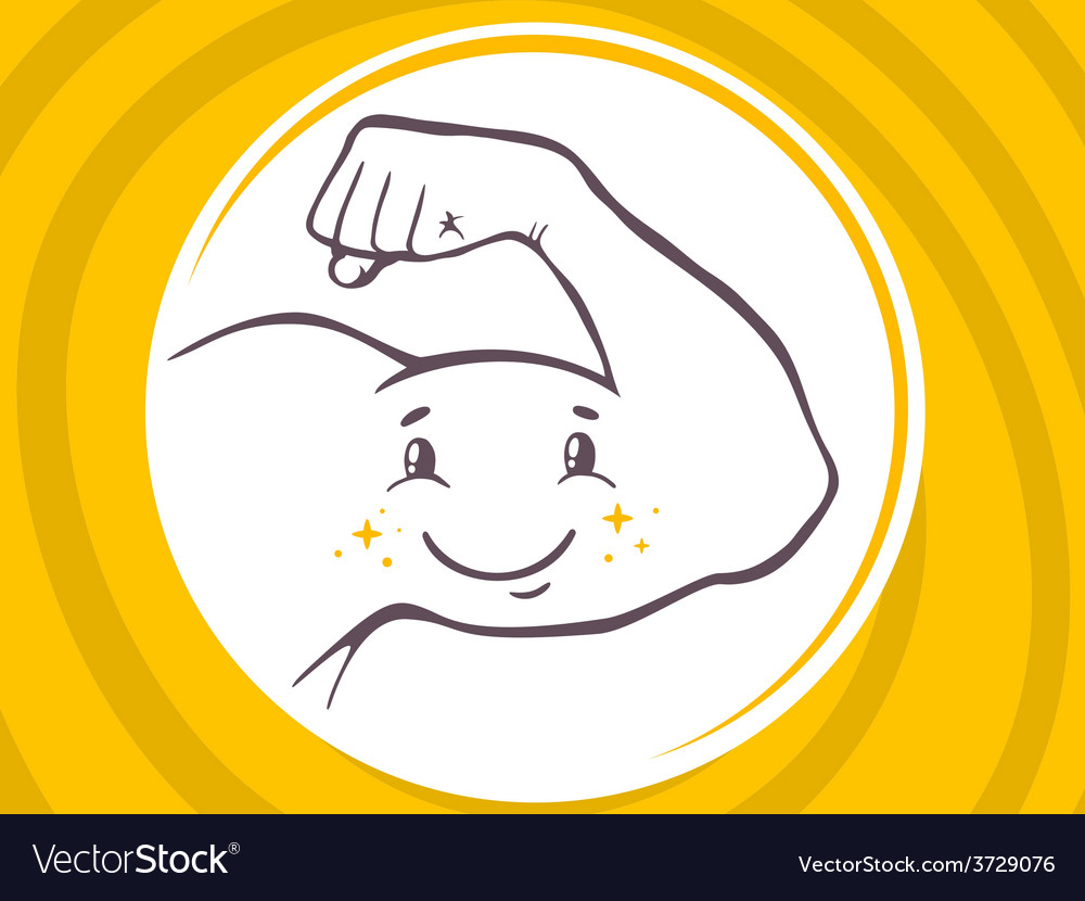 Strong man hand with icon of smile on ye vector | Price: 1 Credit (USD $1)