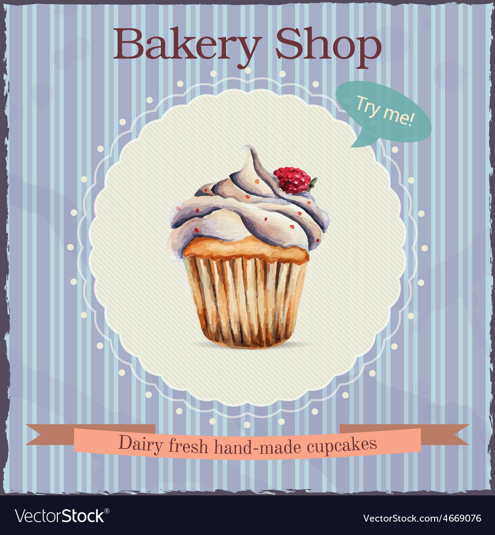 Watercolor bakery shop advertisement with cupcake vector | Price: 1 Credit (USD $1)