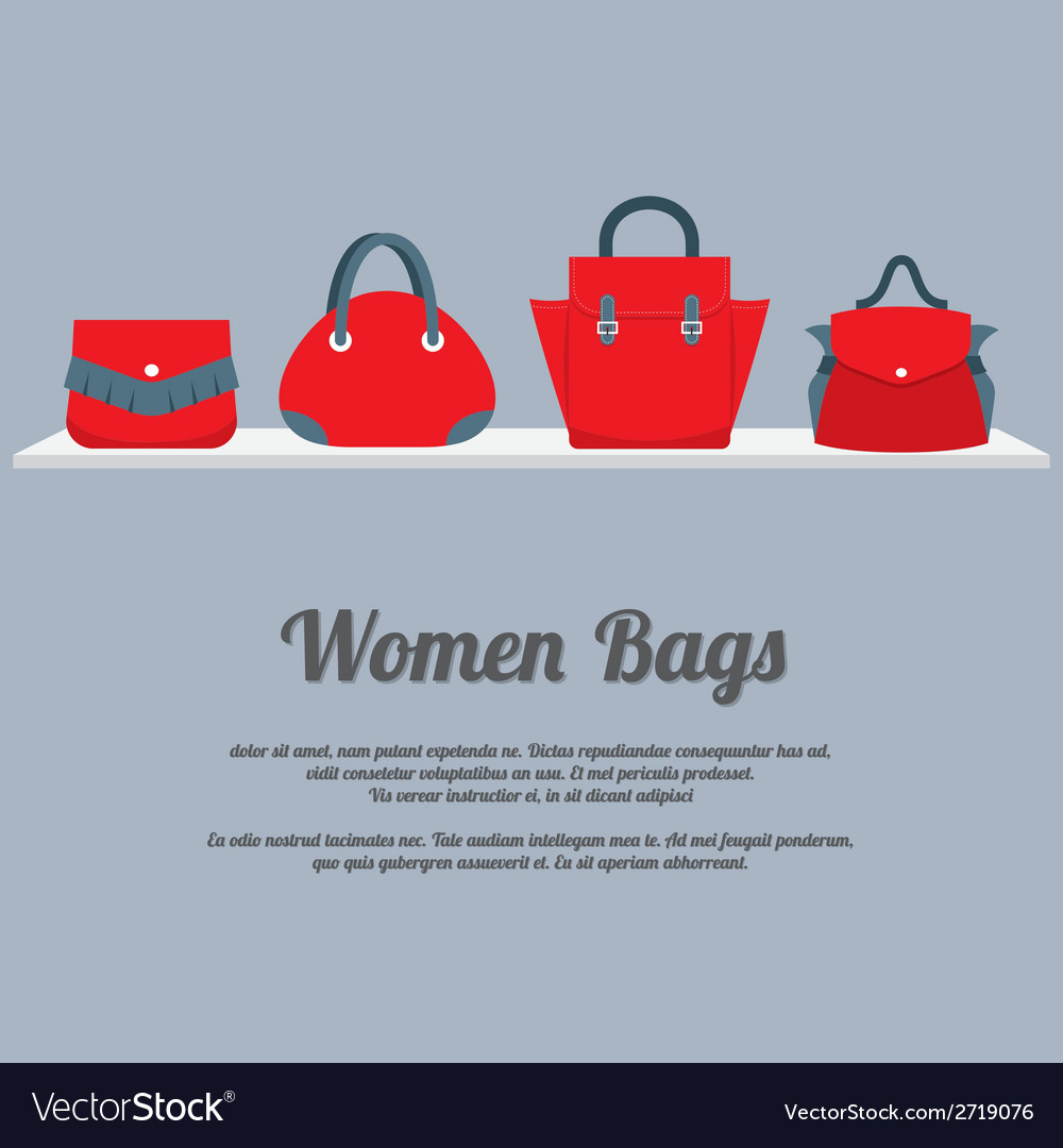 Women handbags display on shelf vector | Price: 1 Credit (USD $1)