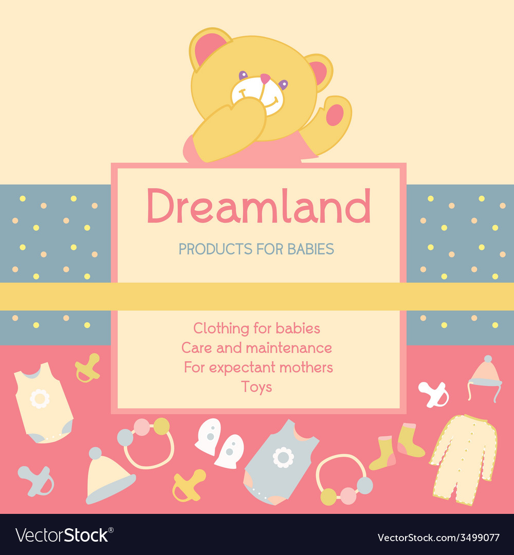 Background with a label products for babies advert vector | Price: 1 Credit (USD $1)
