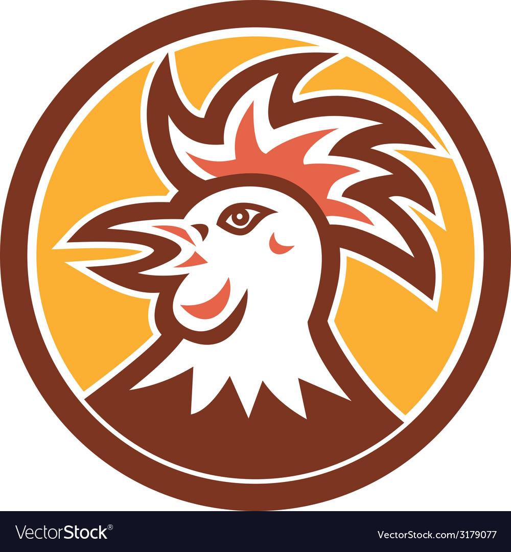 Cockerel rooster head circle retro vector   Price: 1 Credit (USD $1)