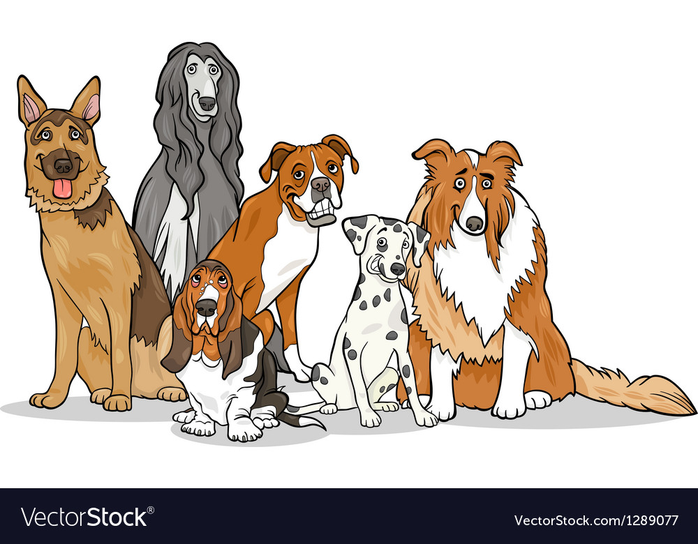 Cute purebred dogs group cartoon vector | Price: 1 Credit (USD $1)