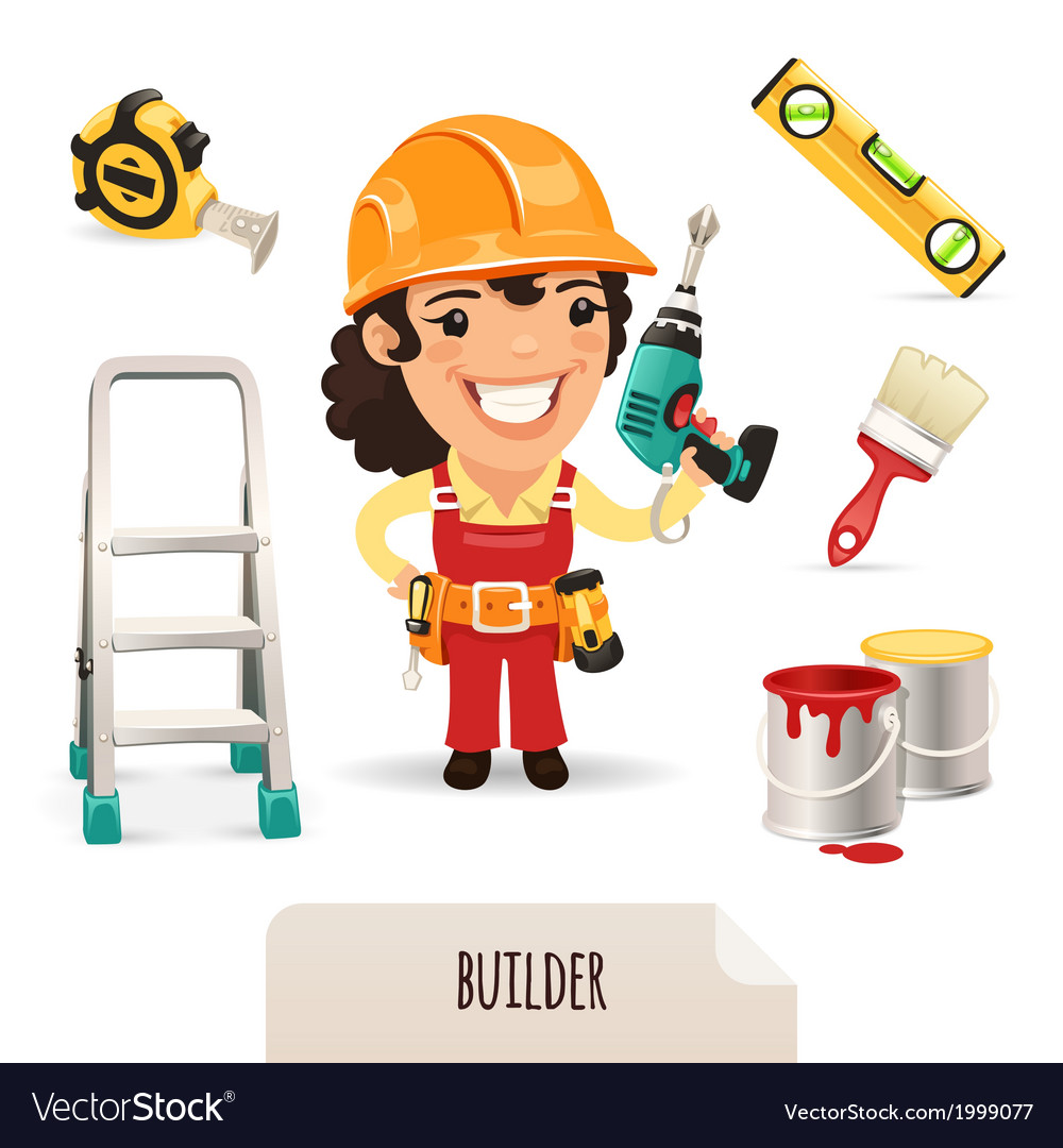 Female builder set vector | Price: 1 Credit (USD $1)