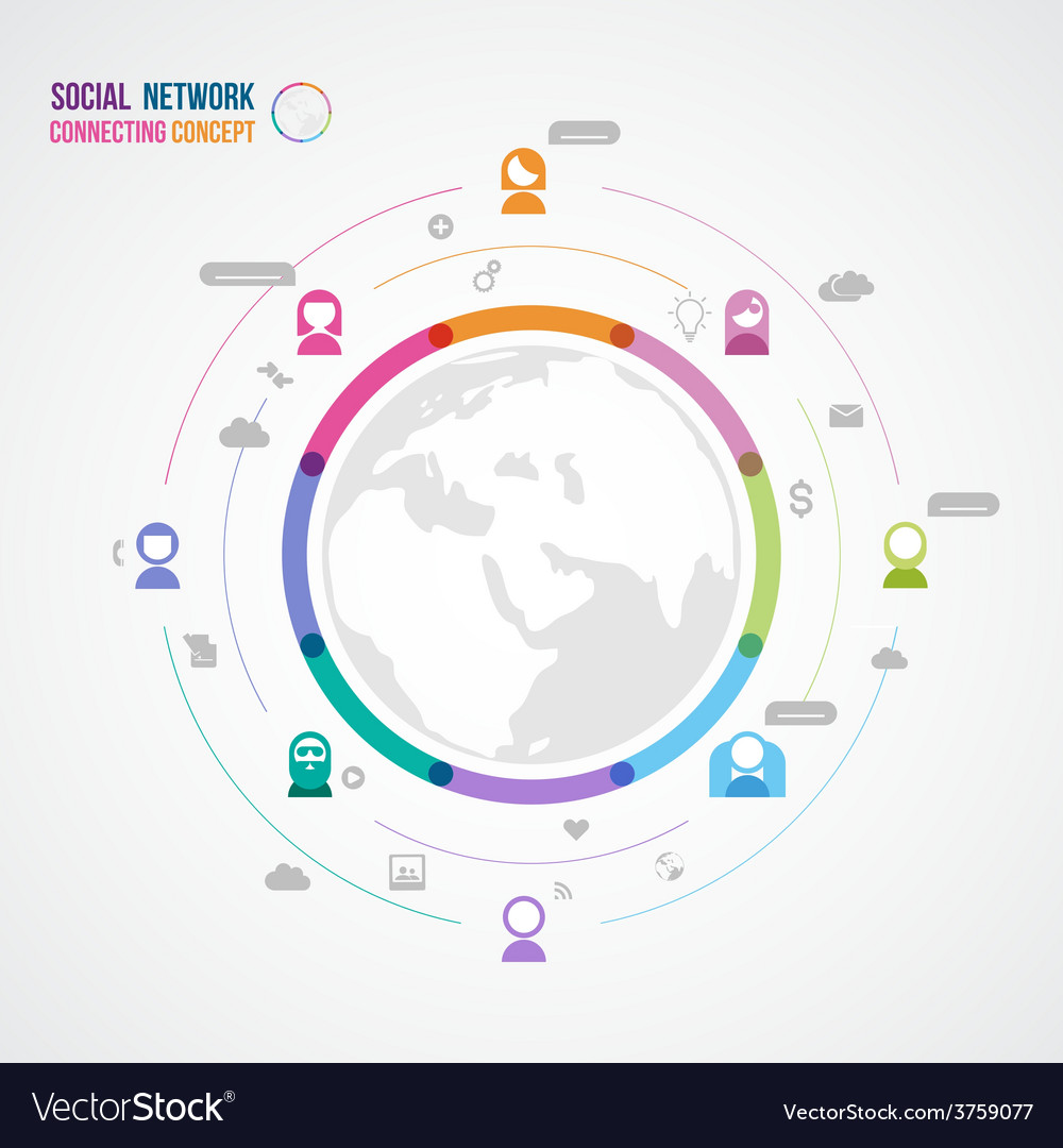 Flat design concept for social network with two vector   Price: 1 Credit (USD $1)