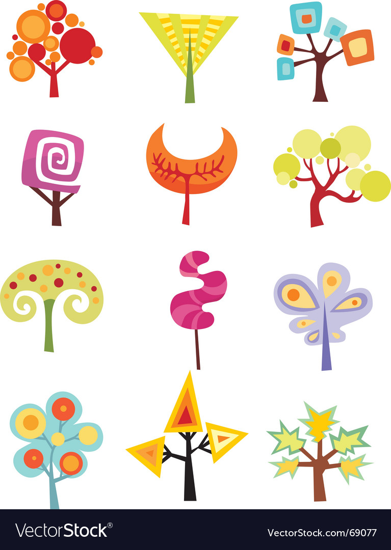 Funky trees vector | Price: 1 Credit (USD $1)