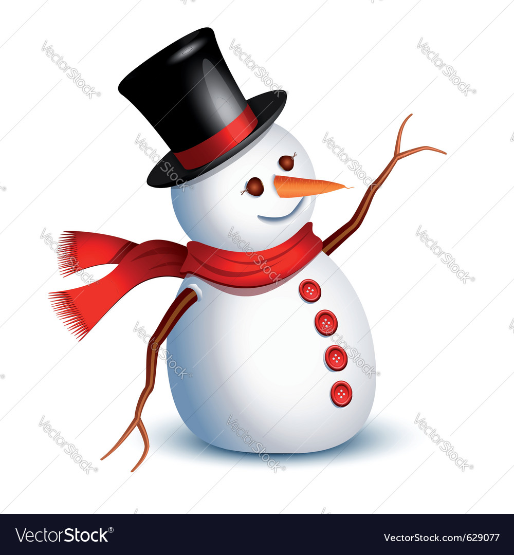 Happy snowman vector | Price: 3 Credit (USD $3)