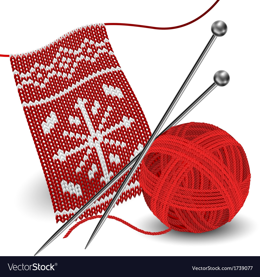 Knitting with needle and yarn ball vector | Price: 1 Credit (USD $1)