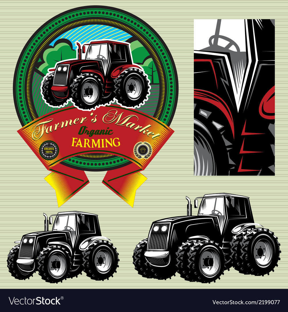 Label with a tractor for livestock and crop vector | Price: 1 Credit (USD $1)