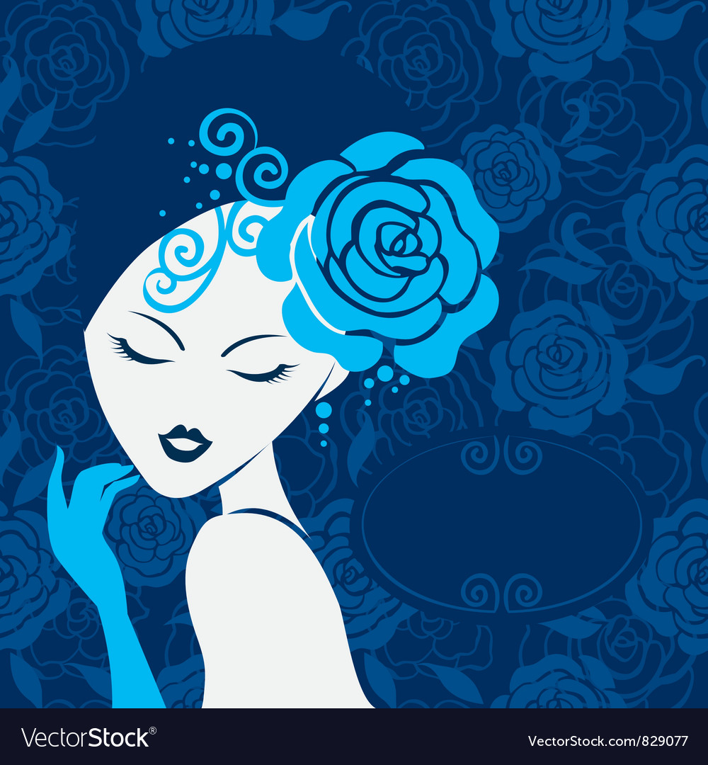 Retro beautiful woman silhouette vector | Price: 1 Credit (USD $1)