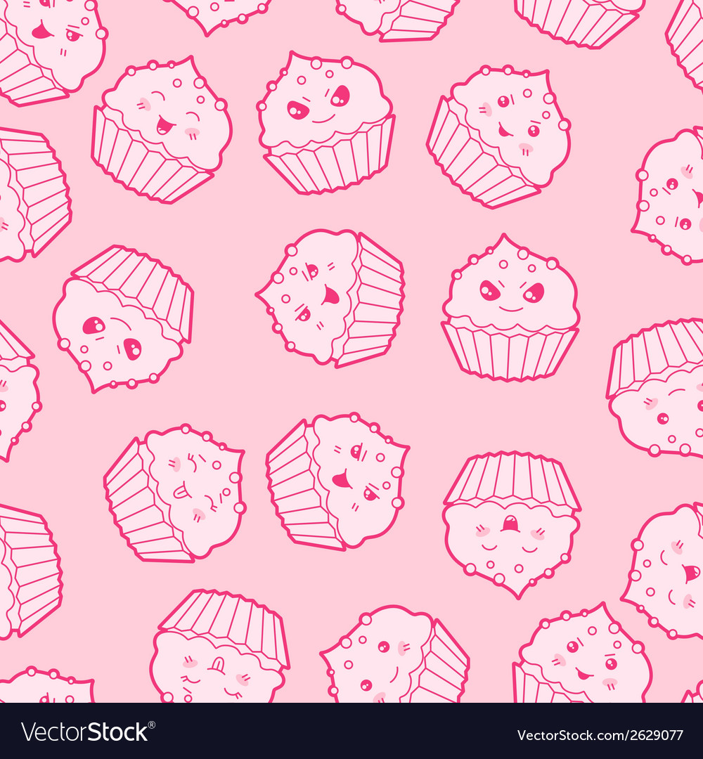 Seamless kawaii cartoon pattern with cute cupcakes vector | Price: 1 Credit (USD $1)