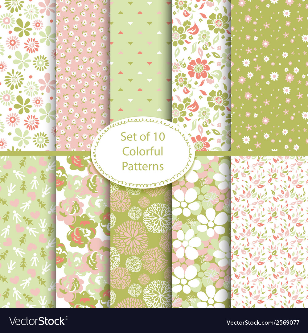 Set of 10 seamless floral and hearts background vector | Price: 1 Credit (USD $1)