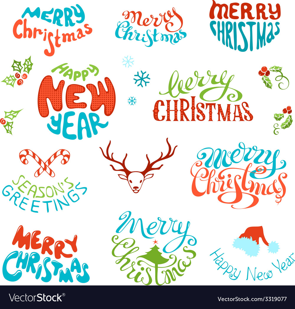 Set of retro elements for christmas designs vector | Price: 1 Credit (USD $1)