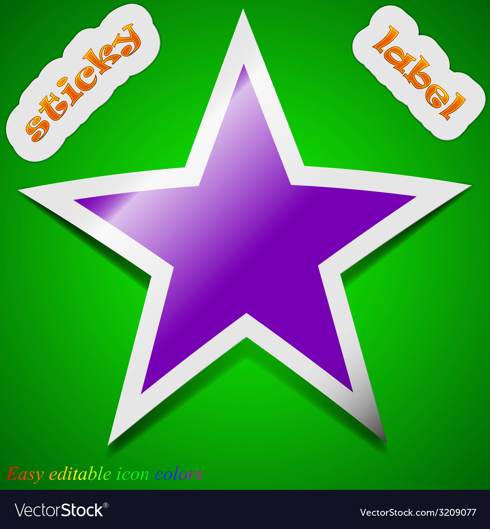 Star icon sign symbol chic colored sticky label on vector | Price: 1 Credit (USD $1)