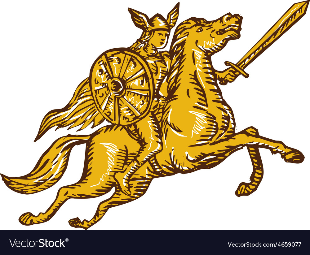Valkyrie warrior riding horse sword etching vector | Price: 1 Credit (USD $1)