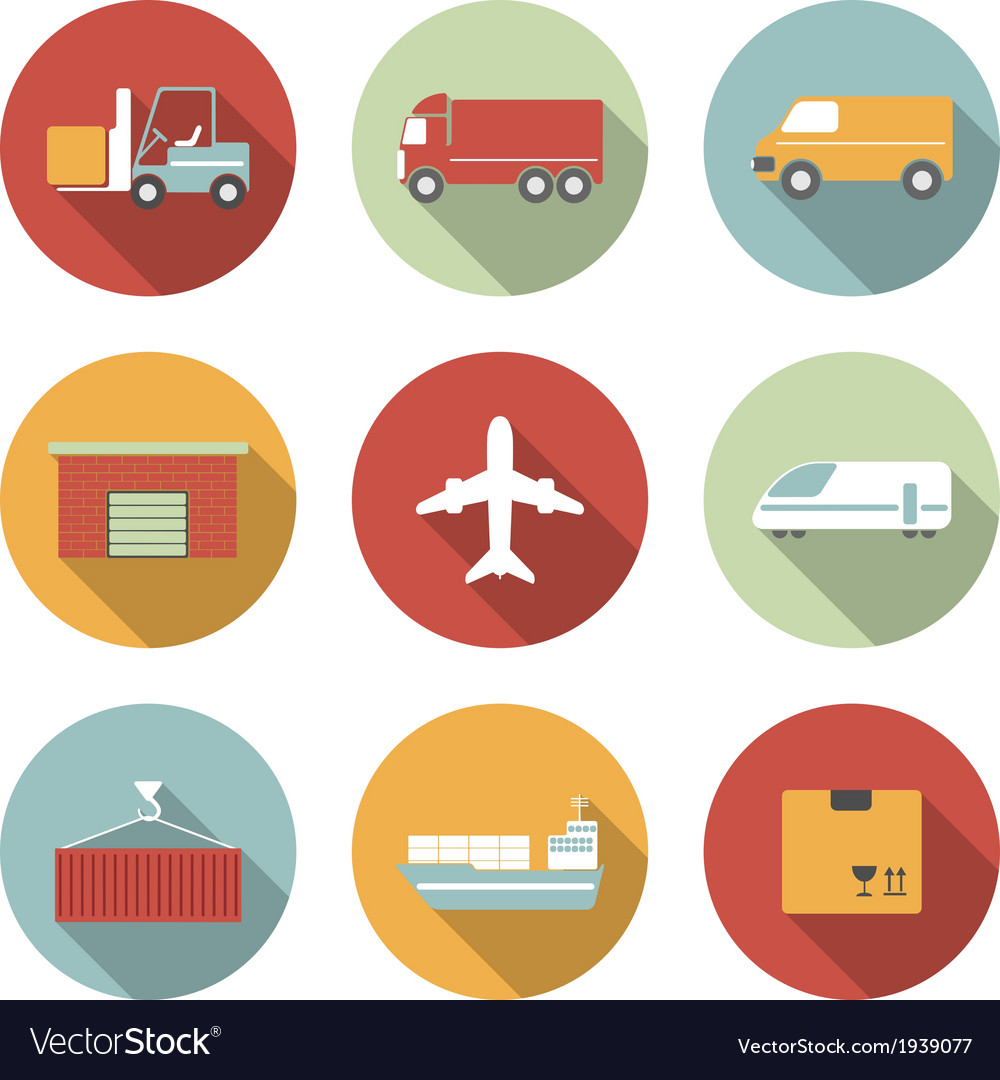 Vehicle transport and logistics flat icons vector | Price: 1 Credit (USD $1)