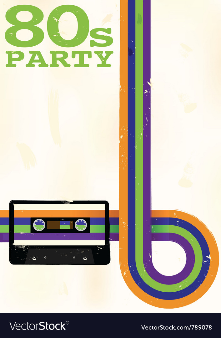 80s party flyer vector | Price: 1 Credit (USD $1)