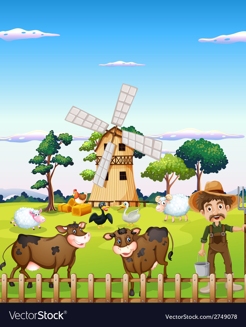 A farmer with the farm animals vector | Price: 1 Credit (USD $1)