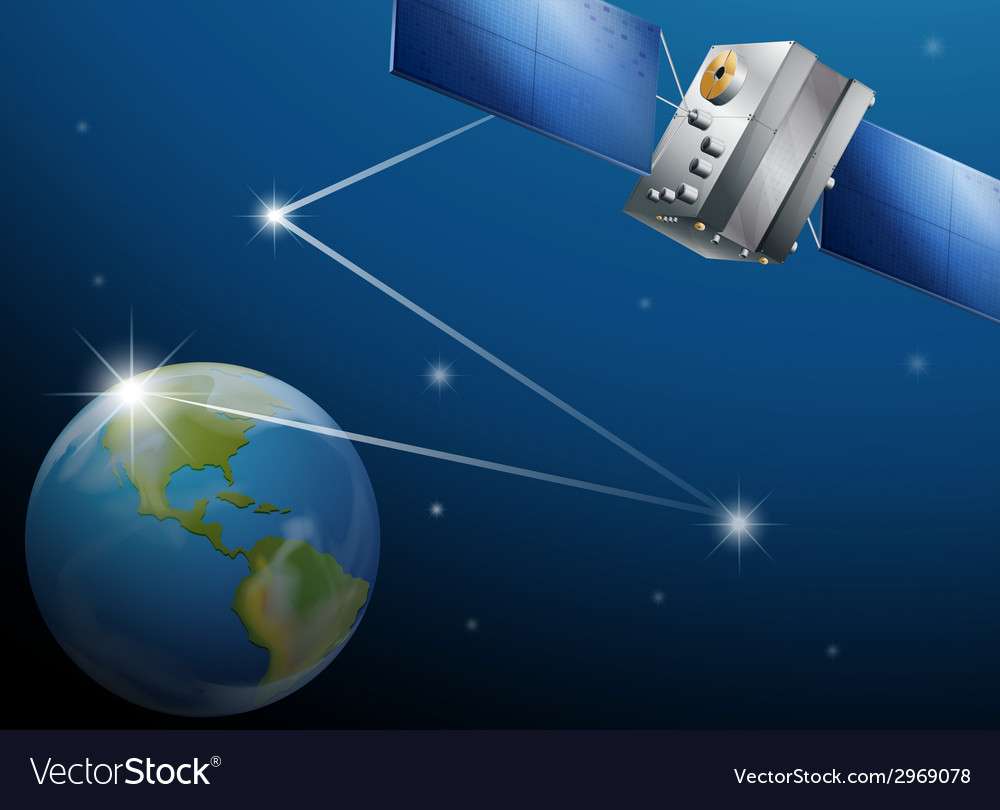 A satellite and the planet earth vector | Price: 1 Credit (USD $1)