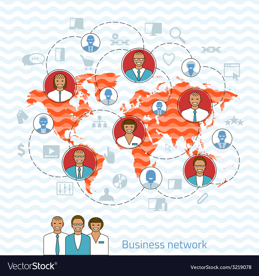 Business network concept of management vector | Price: 1 Credit (USD $1)