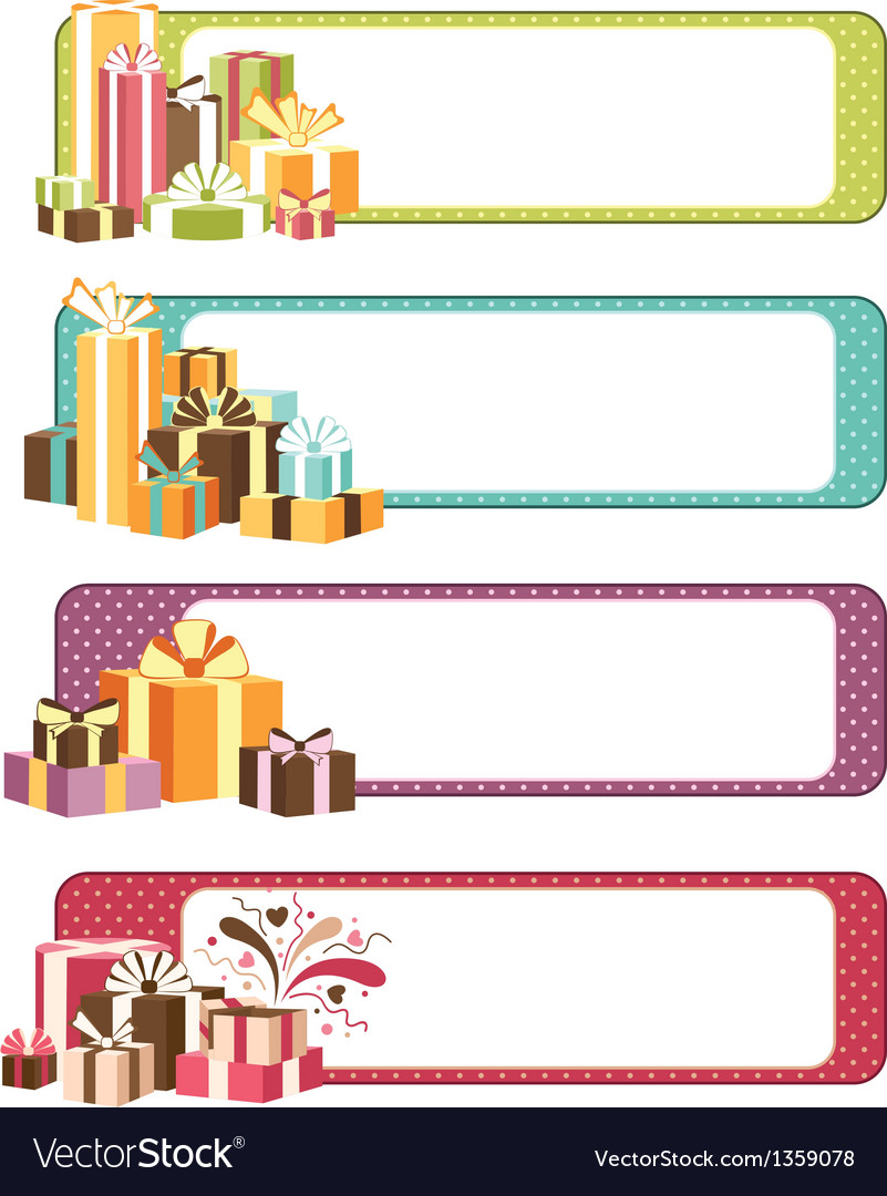 Four horizontal celebration banners vector | Price: 1 Credit (USD $1)