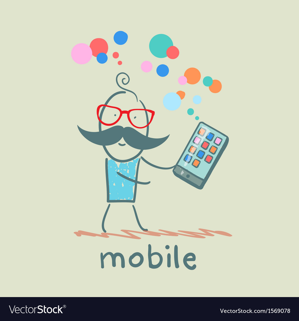 Man holds the best mobile vector | Price: 1 Credit (USD $1)