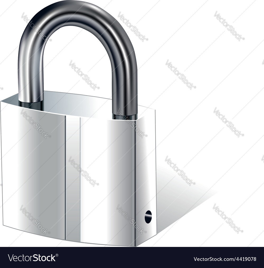 Realistic metal padlock vector | Price: 1 Credit (USD $1)