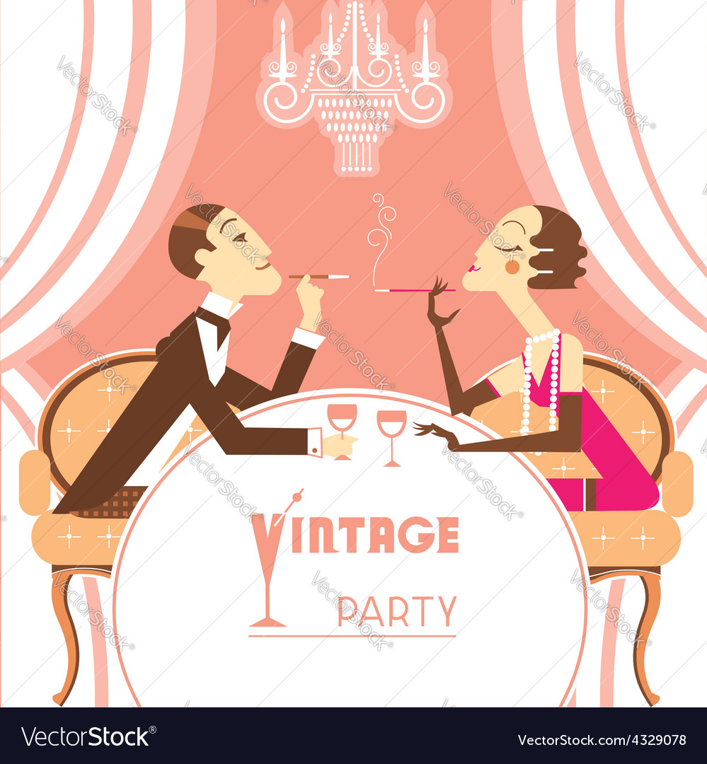 Retro party with couple lovers vector   Price: 1 Credit (USD $1)