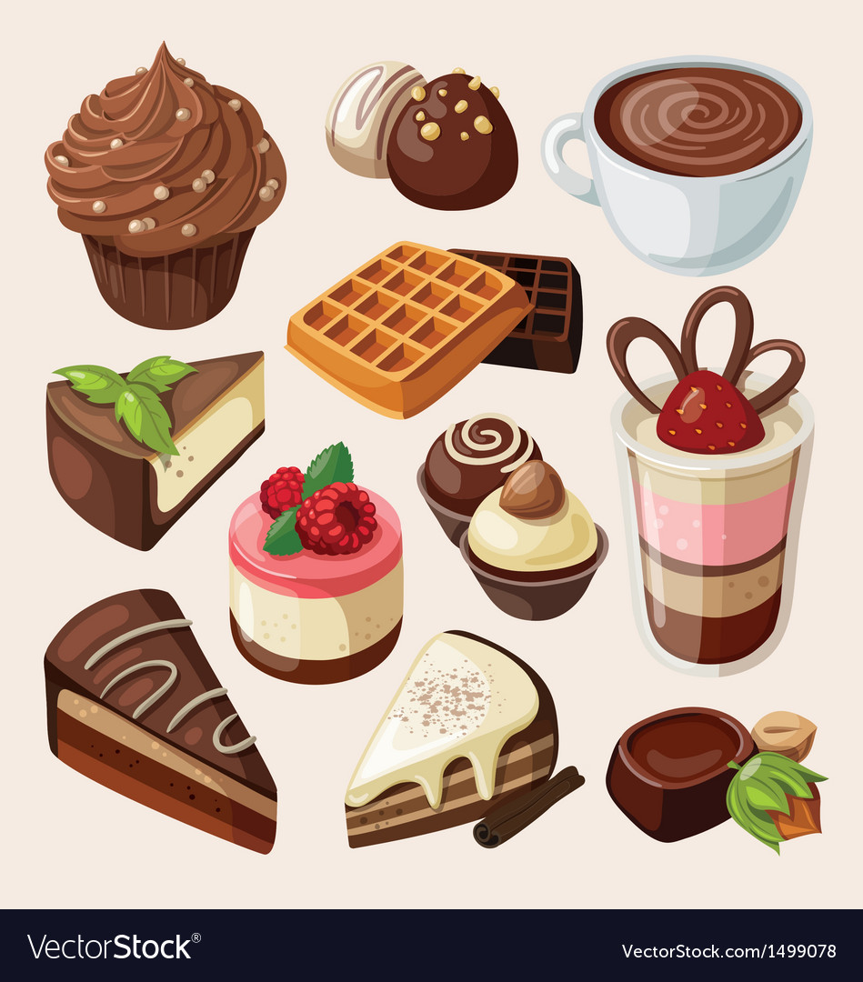 Set of chocolate sweets cakes and other food vector | Price: 3 Credit (USD $3)